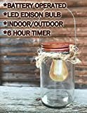 Edison Light Bulb with Jar ONLY ~ LED Light with 6 hour timer in a Rustic Glass Mason with hanger -Battery Operated -Distressed Indoor/Outdoor Decor **This is a replacement for our Edison Sconce