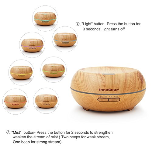 InnoGear Aromatherapy Essential Oil Diffuser Ultrasonic Cool Mist Diffusers with 7 Color LED Lights Waterless Auto Shut-off, 200ml Wood Grain