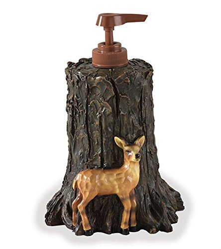 Woodland Collection Rustic Resin Soap/Lotion Pump - Deer and Racoon (Tree Carving Soap Christmas)