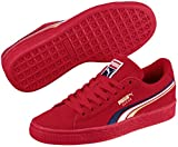 PUMA Unisex-Kids Suede Classic Multicolor Emboss Sneaker, Ribbon Red-Peacoat White Team Gold, 6 M US Big Kid