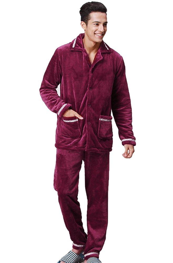 Liveinu Mens Flannel Pajama Sleepwear Set Long Sleeve