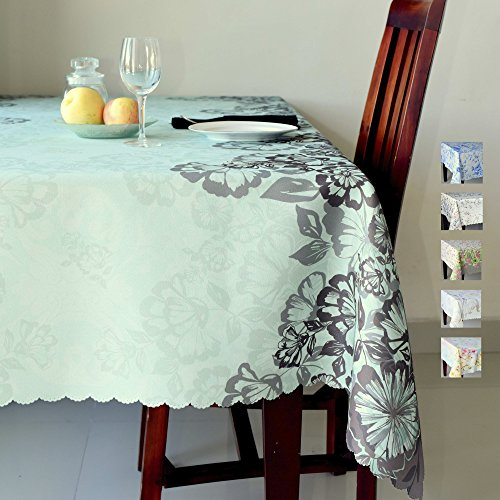 AHOLTA DESIGN Floral Turquoise Rectangle Tablecloth Stain Resistant- Table Cover for Kitchen Dining Room Restaurants Thanksgiving Christmas Dinner New Year (Turquoise, Square 60″x60″)