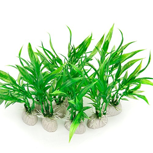 COMSUN 10 Pack Artificial Aquarium Plants, Small Size 4 inch Approximate Height Fish Tank Decorations Home Décor Plastic Green ()