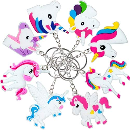 O'Hill 40 Pack Rainbow Unicorn Keychains Key Ring Decoration Birthday Party Favor Supplies -