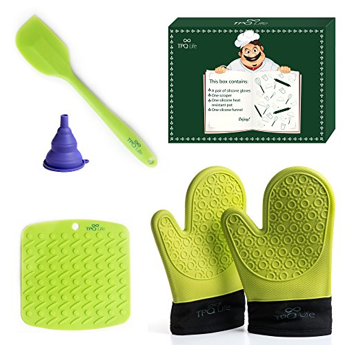 Silicone Oven mitts Pair, Placemat & Spatula Set - 5 Piece Kitchen Ensemble - Top Quality Heat Resistant Non-Slip Oven Mitts, Table/Trivet Mat & Scraper (Green) - BONUS Silicone Funnel (Non Stick Silicone Oven Mitt)