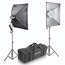 "Neewer® 1600W Photo Studio Softbox Video Light Lighting Kit, includes:(2)4 Sockets Light Holder+(2)16x24""/41x61cm Softbox+(8)45W Light Bulb+(2)83""/210cm Light Stand+(1)Carrying Bag"