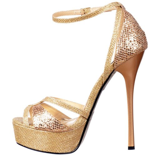 Onlineshoe Glitter Damen Gold Over Riemchen Peep Toe Glänzend Glitter Toe Cross Gold Gold Stiletto rHrqxwdtO