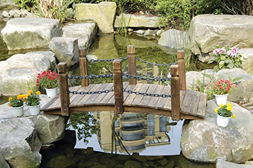 PierSurplus Rustic Wood Garden Bridge with Posts and Double Metal Chain Hand Rails Product SKU: PL54205 by PierSurplus (Image #1)