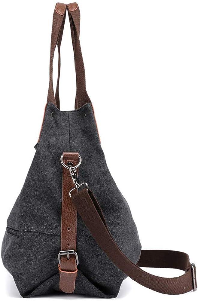 A.OAQRFA Borsetta da donna, tela grande borsa di tela per borse a tracolla per donna Nero