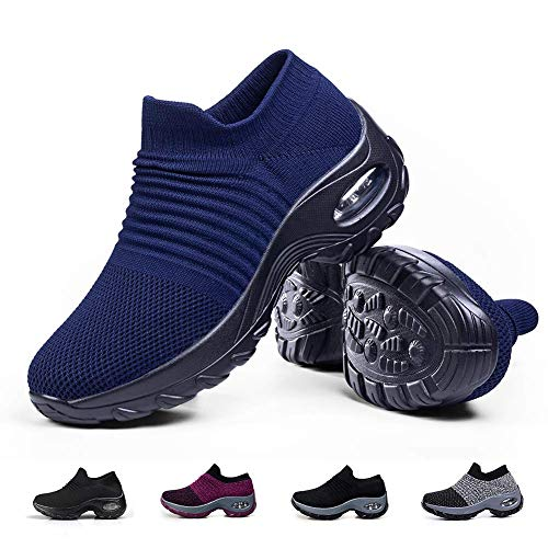 Slip on Breathe Mesh Walking Shoes Women Fashion Sneakers Comfort Wedge Platform Loafers Navy Blue,8