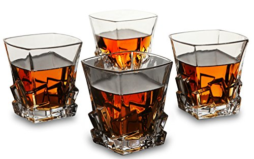 Old Fashioned Cocktail Glasses - Set of 4 - Unique Lead Free Crystal Whiskey Glass By KANARS - Iceberg Shaped Large 11 oz Tasting Tumblers for Drinking Scotch, Bourbon, Irish Whisky, Brandy
