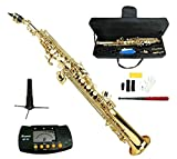 Merano B Flat Gold Brass Soprano Saxophone,Case,Mouth Piece, Reed,Screw Driver, Nipper,A Pair of Gloves,Soft Cleaning Cloth, Metro Tuner, Stand