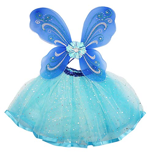 ZHENXI Toddler Kid Fairy Costume Set Ballet Dance Tutu Skirt with Wings Cosplay Costume