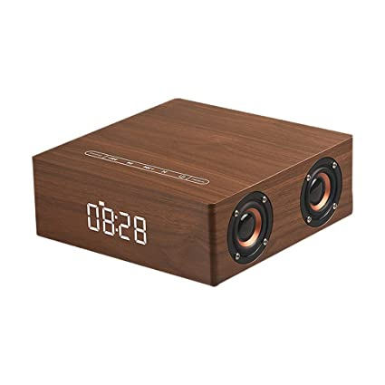 Wooden Bluetooth Alarm Clock Speaker 3600mah Battery Support Audio Input Tf Card Alarm Clocks