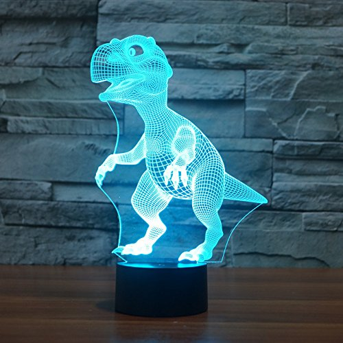 Acrylic Lamp Table Light One (YANGHX 3D LED nightlight new dinosaur of acrylic lamps living 100~240v Night 7 Color change LED desk table light lamp (Color: Multicolor))