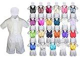 Baby Kid Toddler Boy Formal Party Suit WHITE Shorts Shirt Hat Vest set Sm-4T (4T, Royal Blue)