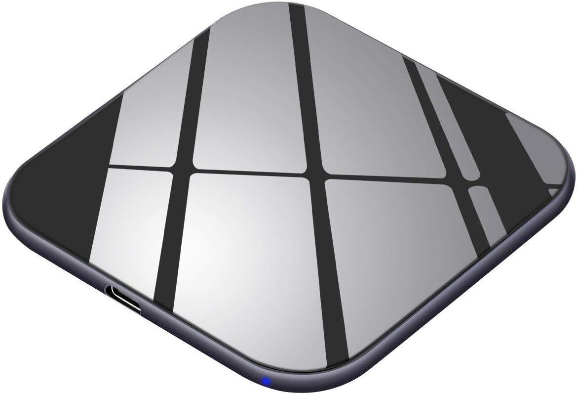 Te-Rich Cargador inalámbrico 15W Máximo Cargador Qi 10W para Samsung Galaxy y Note 10/10+/9/S10/S9/S8+/S8/Huawei P30Pro,7.5W para iPhone 11/11Pro/11Pro MAX/XS MAX/XR/X/XS/8 Plus/8