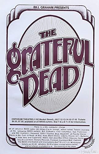 Grateful Dead Concert Poster Randy Tuten Signed Orpheum 1976