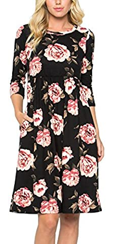 Risesun Women's Floral Print Crew Neck 3/4 Sleeve Pocket Empire-Waist Flowy Party Midi (Midi Cotton Dress)