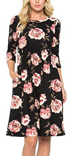 Three Quarter Crewneck Sleeve (Risesun Women's Floral Print Crew Neck 3/4 Sleeve Pocket Empire-Waist Flowy Party Midi Dress(Black-M))