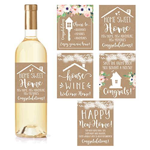 5 Rustic House Warming Presents, New Homeowner Stickers or Wine Label Gift Set Ideas, Congrats Home Sweet Home Party, Unique Real Estate Gifts From Agent For Client Congratulations (Accessories Home Unique & Gifts)