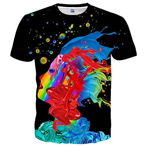 Hgvoetty Mens 3D Printed Rainbow Watercolor Paint Short Sleeve Shirts M,Style-black, (Watercolor Graphic Tees)