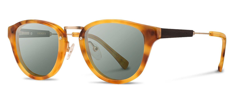 Shwood Womens Fashion Sunglasses Ainsworth: Amber & Matte Gold - G15 Polarized
