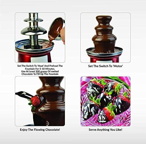 Gadgy Fontaine à Fondue au Chocolat à Trois Étages 90 Watts   Hauteur de 31,5 cm avec Tour en Acier Inoxydable   Capacité de 750 Grammes   Look Rétro   Pour les Fêtes d'Anniversaire et les Mariages