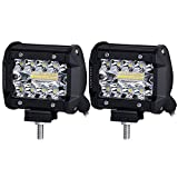 Liteway LED Pods, 2pcs 140W Triple Row LED Light Bar 4 inch Spot Flood Combo Beam CREE LED Driving Lights Off Road Lighting LED Work Lights for Truck Car ATV Boat SUV, 1 Year Warranty