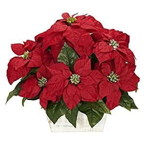 GREATHOPES Red Poinsettia w/White Wash Planter Silk Artificial Flower Decorative Arrangement 15