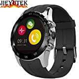 Aberobay KW08 Unisex Smartwatch 1.22 Inch HD IPS LCD Circular Touch Screen 240*204 pixel Resolution 0.3M Camera Bluetooth Smart Watch Support SIM Card Anti-lost GPS Heart Rate Monitor Fitness Trakcer Fully Sync with Android Phone for IOS Iphone-Silver+Black