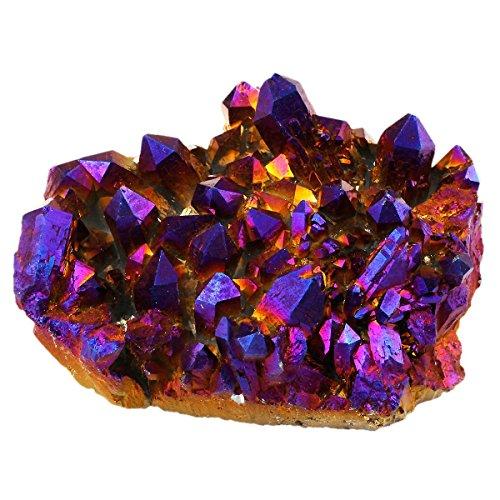 Flame Crystal - SUNYIK Purple Aura Titanium Quartz Crystal Cluster,Drusy Flame Geode Gemstone Specimen Figurine(0.4-0.5lb)