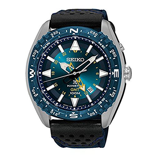 - Seiko SUN059 Men's Prospex Kinetic GMT Stainless Nylon/Leather Band Blue Dial Watch