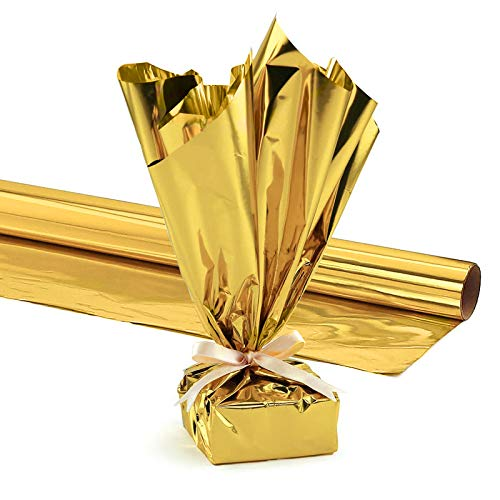 Hygloss Products Mylar Gift Wrap Roll, 24 Inches X 25 Feet, Metallic Gold Pkg/1