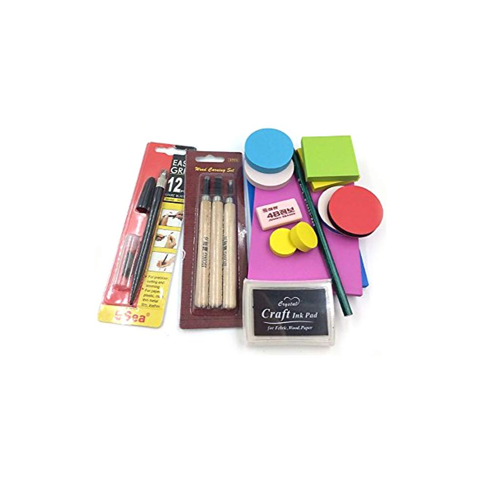 DIY Rubber Stamp Carving Kit :Carving Block, Carving Knife,InkPad,Easy Grip,Eraser, Pencil Customize for Scrapbooking, Postcards, Invitation Cards, DIY Project