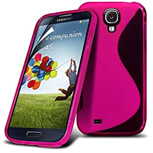 Samsung Galaxy S4 i9500 Hot Pink S Line Wave Gel Case Skin Cover With LCD Screen Protector Guard, Polishing Cloth by Fone-Case