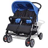 vidaXL Baby Twin Stroller Steel Blue and Black
