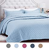 """Quilt Set Solid Ice Blue King Basketweave Pattern Lightweight Hypoallergenic Microfiber """"Simone"""" by Bedsure"""