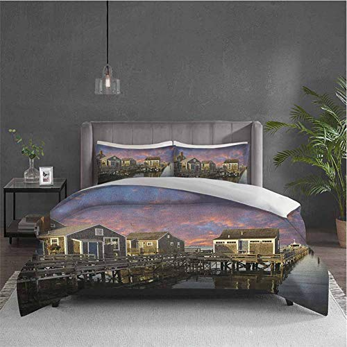 Dolores Edmund United States Pure Bedding Hotel Luxury Bed Linen Sunset Over Nantucket Massachusetts Dramatic Sky Clouds Pond Houses Polyester - Soft and Breathable (Twin) Coral Blue Sepia