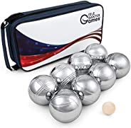 Flag Theme Metal Petanque Game Set of 8 73mm Boules