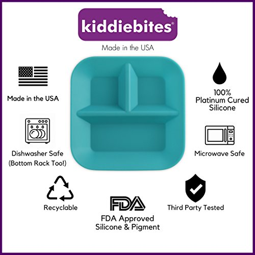Made in the USA 100% Silicone Plates for Babies & Kids by Kiddiebites - 2-Pack BPA, BPS, PVC, phthalate, cadmium, and lead Free, FDA Approved Silicone, Divided Child's Placemat Set (Teal) by Kiddiebites (Image #2)