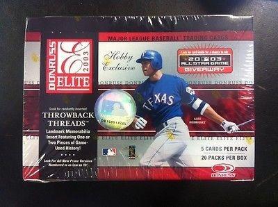 2003 Donruss Elite Baseball Cards Hobby Box (20 - Card Baseball Elite Donruss 2003