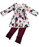 BNY Corner Little Girl Kids Long Sleeve Flower Print Pants Set Burgundy 4 M 201189