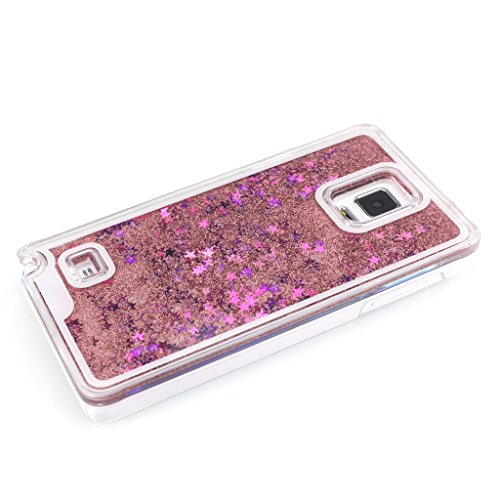 AENMIL Stylish Samsung Note 4 Case, Luxury Design 3D Bling Flowing Colorful Glitter Stars Powder Dynamic Liquid Hard Case Transparent Clear Back Cover for Samsung Galaxy Note 4 (Pink)