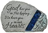 Carson Memorial Garden Stone With Blue Mosaic Solar Accent – God Has You In His Keeping We Have You In Our Hearts