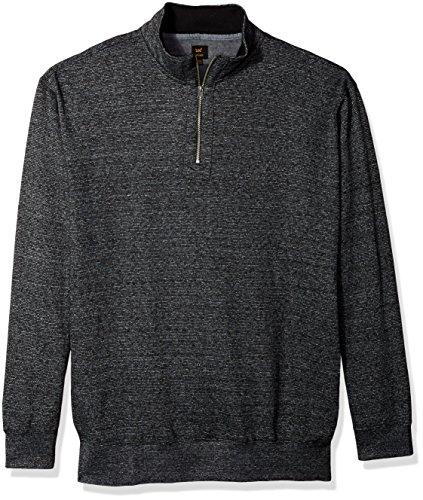LEE Men's Big and Tall Mock Neck Quarter Zip Sweater, Black, 3X (Zip Sweater Mock Quarter)