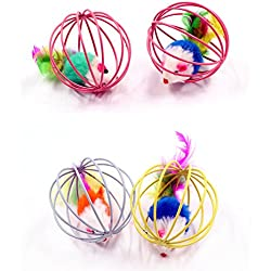 PetFavorites Catch The Mouse Cat Toy Ball with Feathers for Cats, Pack of 4.