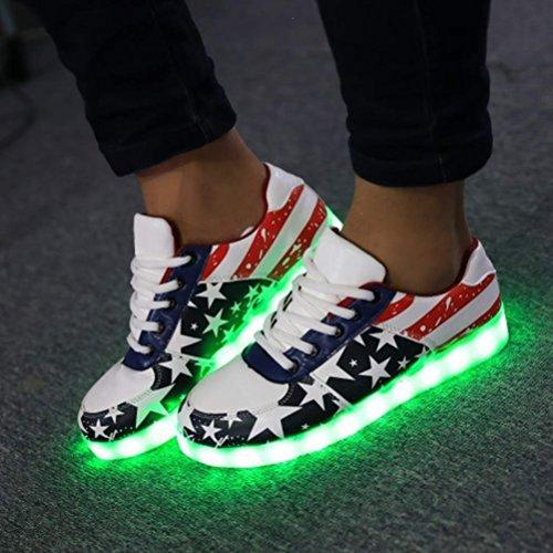 petite Sports Femme initial Présents Lu couleurs de Cravog Chaussures JUNGLEST® 8 LED Baskets serviette Homme Charge USB YTaFwd