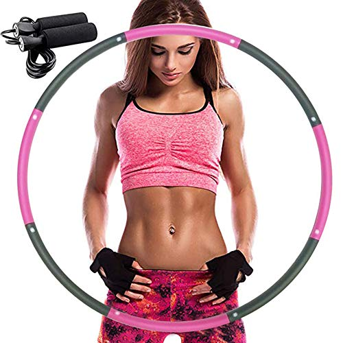 REDSEASONS Hula Hoop for Adults,Lose Weight Fast by Fun Way to Workout,Easy to Spin, Premium Quality and Soft Padding Hula Hoop,with Free Accessory Skipping Rope (Pink)