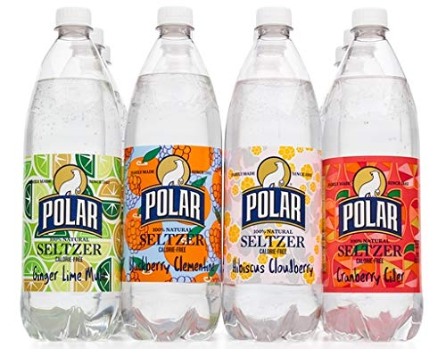 Polar 100% Natural Seltzer 12 x 1L (33.8 Fl oz) - Winter Variety - (Ginger Lime Mule, Blackberry Clementine, Hibiscus Cloudberry, Cranberry Cider) made in New England